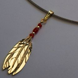 Spirit of the Three Fires eagle feather fan pendant