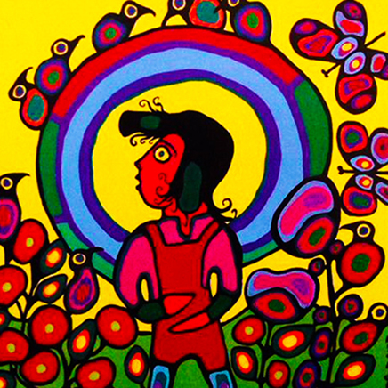 Norval Morrisseau Child with Halo detail