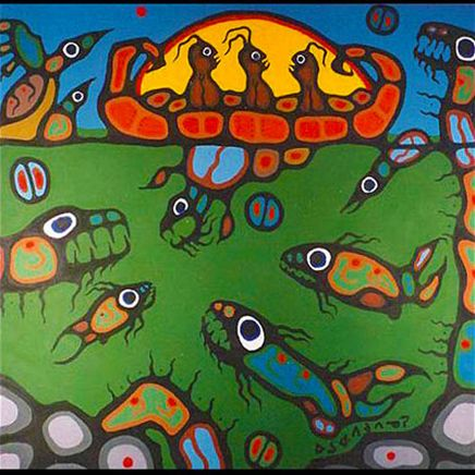 Norval Morrisseau Copper Thunderbird canvas