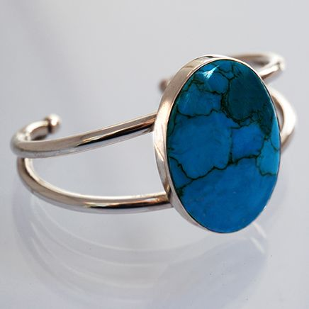 Ozhaawashko-giizhig sterling silver and turquoise cuff bracelet by Zhaawano