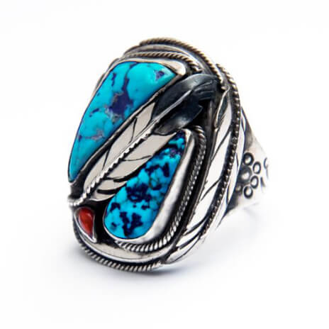 Native American style turquoise ring Both Sides of the Sky