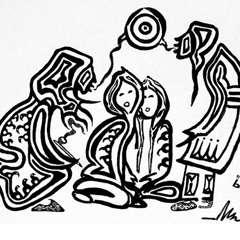 Wiinabozho and the Storytellers' Mirror original pen drawing