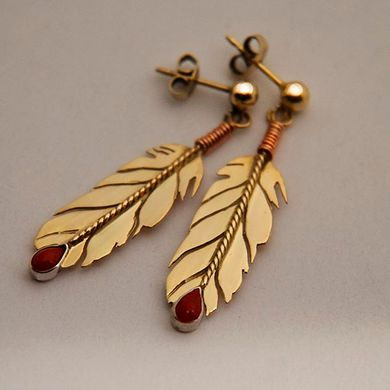 Gold eagle feather earrings