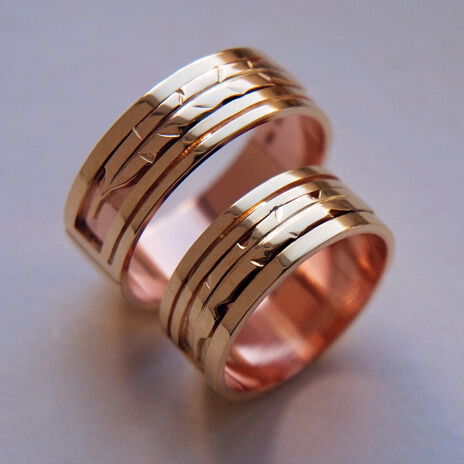 Native American style wedding bands Touched by the Sun